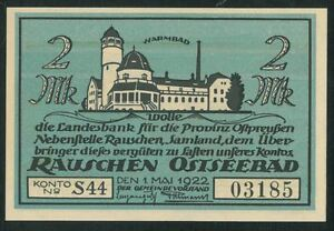 RAUSIAI 2 Mark (1922) banknote UNC Germany Lithuania Kaliningrad RAUSCHEN