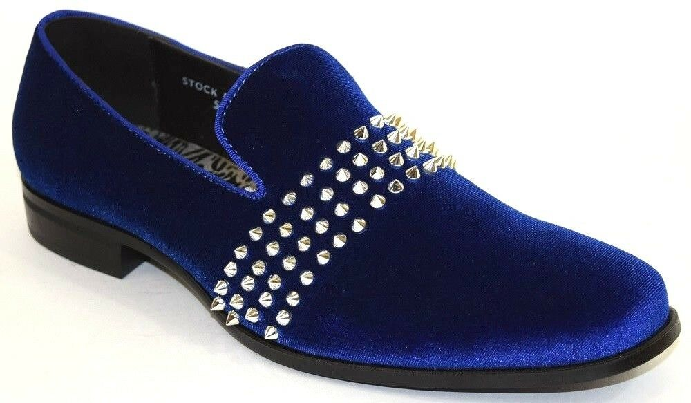 Men's Dress Casual Smoker shoes Slip On Loafers Royal bluee Velvet Silver Spikes