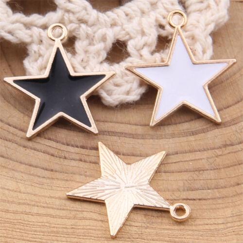 10pc Esmalte Estrellas Pentagrama Colgante Encanto Perlas Pulsera Joyería 1018H pendiente