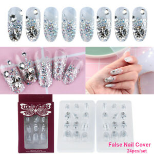24-Pcs-French-Nails-False-Nail-Cover-Crystal-Diamond-glitter-Nail-Tool