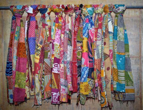 10 Vintage Cotton Sari Kantha Scarves Hand quilted stoles wholesale lot