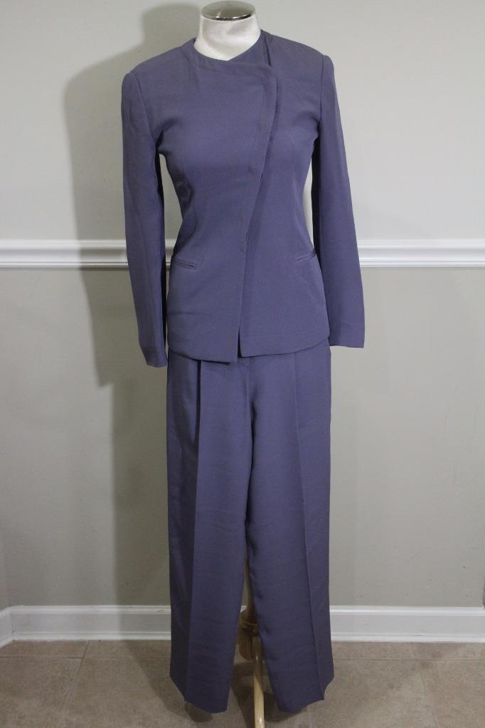 GIORGIO ARMANI Women's Dark Purple Horizontal Button Pants SIZE 4 (su100