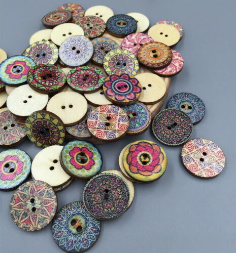 DIY Vintage Style Flowers Wood Buttons Scrapbooking Sewing Crafts wooden 20mm