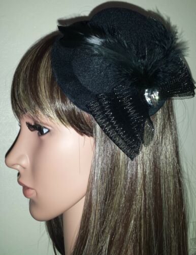 Black mini top hat fascinator bow feathers Diamante tear drop gothic hair clip.
