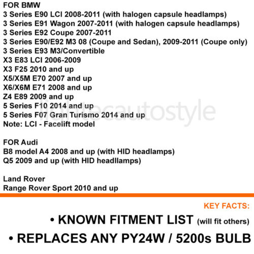 2X CANBUS PY24W 5200s 100W CREE AMBER LED TURN SIGNAL INDICATOR BULBS ERROR FREE