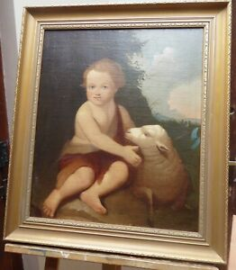 Infant-St-John-The-Baptist-With-Lamb-18thc-Oil-Portrait-Painting-Old-Masters