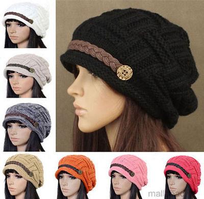 Women Braided Warm Rageared Baggy Winter Beanie Knit Crochet Ski Hat Cap 8 Color