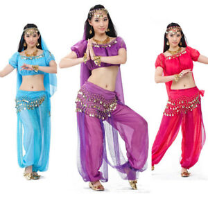 038a80d43 Image is loading Bollywood-Indian-Belly-Dance-Costume-Top-Pants-Outfit-