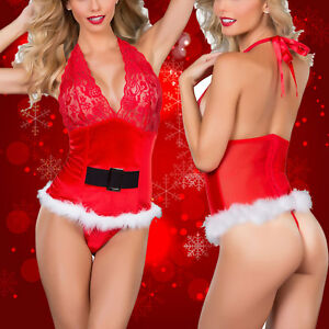 Christmas Lingerie.Details About Sexy Women Ladies Christmas Lingerie Deep Lace Babydoll V Neck Xmas Sleepwear