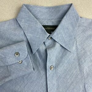 Banana-Republic-Button-Up-Shirt-Mens-Medium-Blue-Long-Sleeve-Cotton-Casual-Shirt