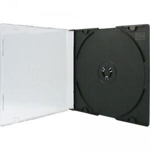 200-CD-Huellen-1er-Slimcase-5-2-mm-fuer-je-1-BD-CD-DVD-schwarz