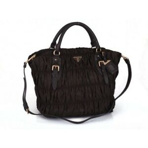 c857e8e92034 Image is loading Authentic-Prada-Nappa-BN1611-Leather-Gaufre-Ruched-Hobo-