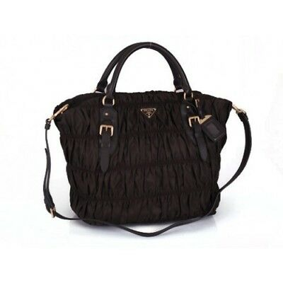 abe722899ec5 Authentic Prada Nappa BN1611 Leather Gaufre Ruched Hobo Shoulder Bag Black