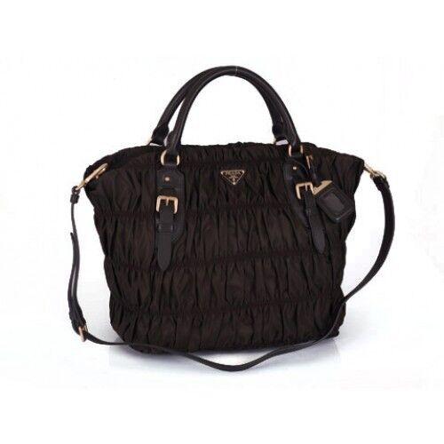 PRADA Gaufre Nappa Leather Shoulder Bag - Black   eBay c221bbb2f4