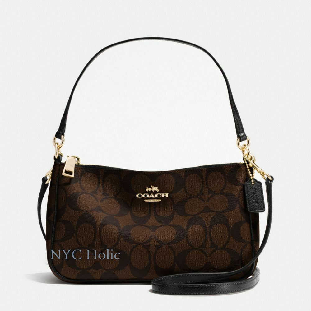 New Coach F58321 Top Handle Pouch Purse In Signature Pvc Brown Black Nwt Ebay