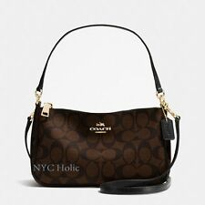 New Coach F58321 Top Handle Pouch Purse In Signature PVC Brown Black NWT