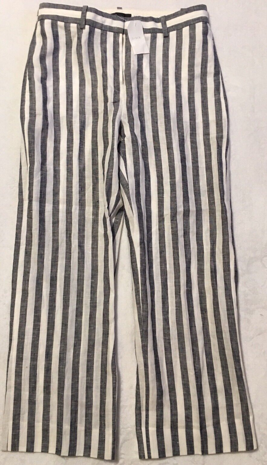 NWT JCREW  98 Cropped pant in striped linen Sz2 In Grey G2337 SOLDOUT