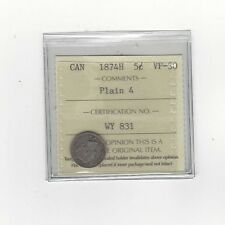 **1874H, Plain 4**, ICCS Graded Canadian,  5 Cent, **VF-30**