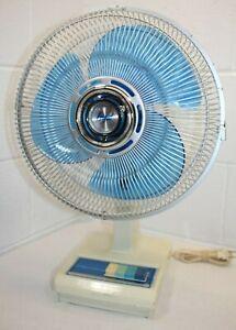 "Vintage FRIGID Oscillating Fan Blue Blades 12"" FD123 3 Speed, WORKS! Clean!!"