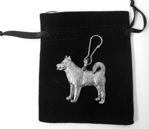 Alaskan Malamute Zip Pull in Silver for Bags and Jackets