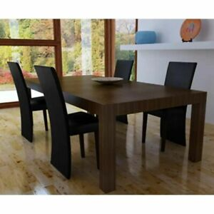 Vidaxl 4x sedie da pranzo in similpelle legno nere moderne for Sedie nere moderne