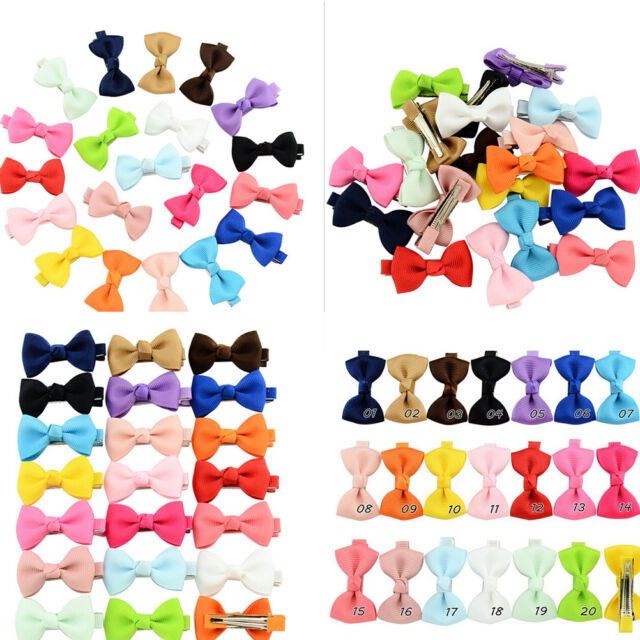 20Pcs Bow Hair Clip Band Boutique Alligator Clip Grosgrain Ribbon Girl Baby ME