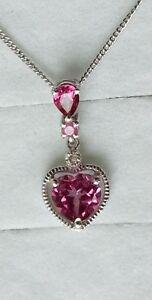 Platinum-Overlay-925-Sterling-Silver-Topaz-Sapphire-amp-Diamond-Heart-Pendant-4