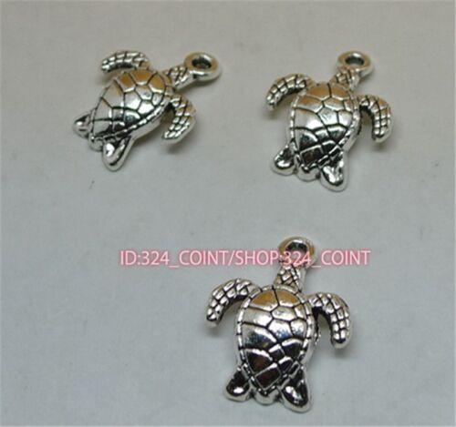 50pc Tibetan Silver Sea turtles Charm Beads Pendant accessories wholesale P1111B