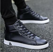 2bc34c059 Men s Fashion High-top Shoes PU Leather Flat Casual Lace Up Sports Boots