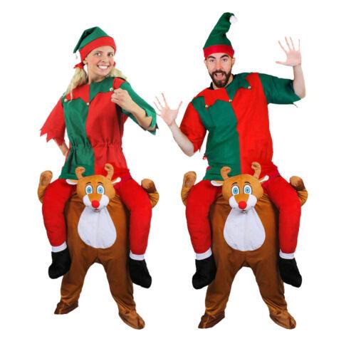 ADULTS ELF COSTUME /& REINDEER PICK ME UP FUNNY CHRISTMAS UNISEX FANCY DRESS LOT