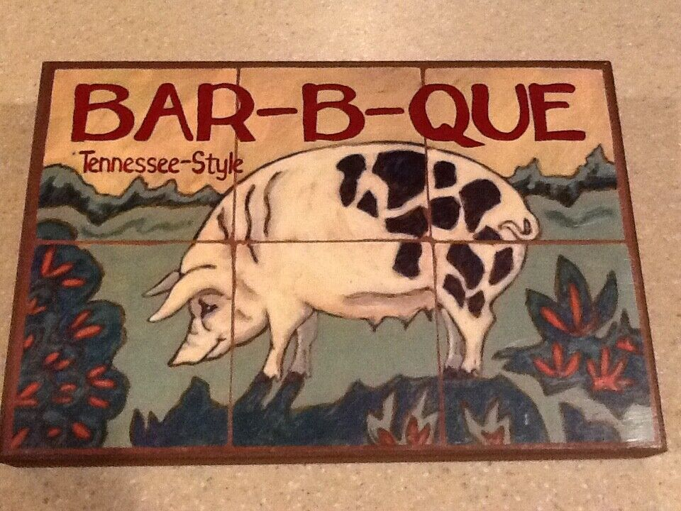 Hand Painted BBQ Sign - TENNESSEE STYLE BAR-B-QUE - 18x12 Stretched Canvas