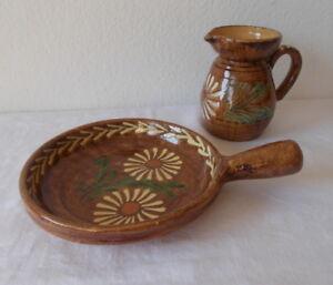 ofenfeste-Keramikplatte-20-cm-mit-Henkel-und-600-ml-Kanne-braun-mit-Dekor