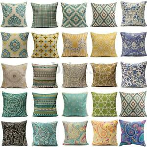 Image Is Loading Vintage Geometric Flower Cotton Linen Throw Pillow Case