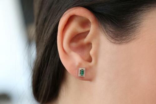 1.4ct Baguette Cut Green Emerald Diamond Halo Stud Earrings 14k Yellow Gold Over