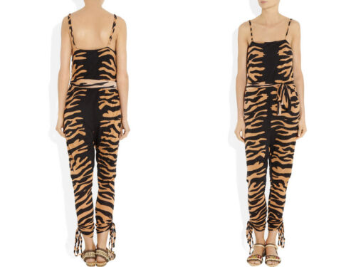 ...//// 8 Alice By Temperley Raja Tiger Print Jersey Jumpsuit Size 6 10,12