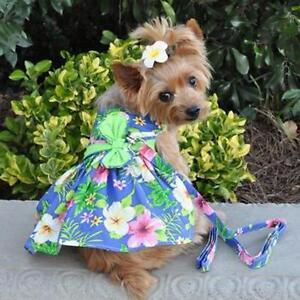 Blue Lagoon Hawaiian Hibiscus Dog Dress with Matching Leash by Doggie Design