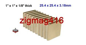 "12 pcs of Grade N52, 1"" x 1"" x 1/8"" thick Rare Earth Neodymium Block Magnets"