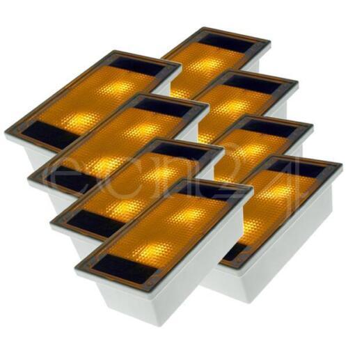 Solar Pflasterstein Solarstein Solarlicht Bodenlampe 10x20cm 8er Set gelbe LED