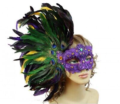Mardi Gras Mask Side Feathers Purple Gem Green Purple Women/'s Costume Accessory