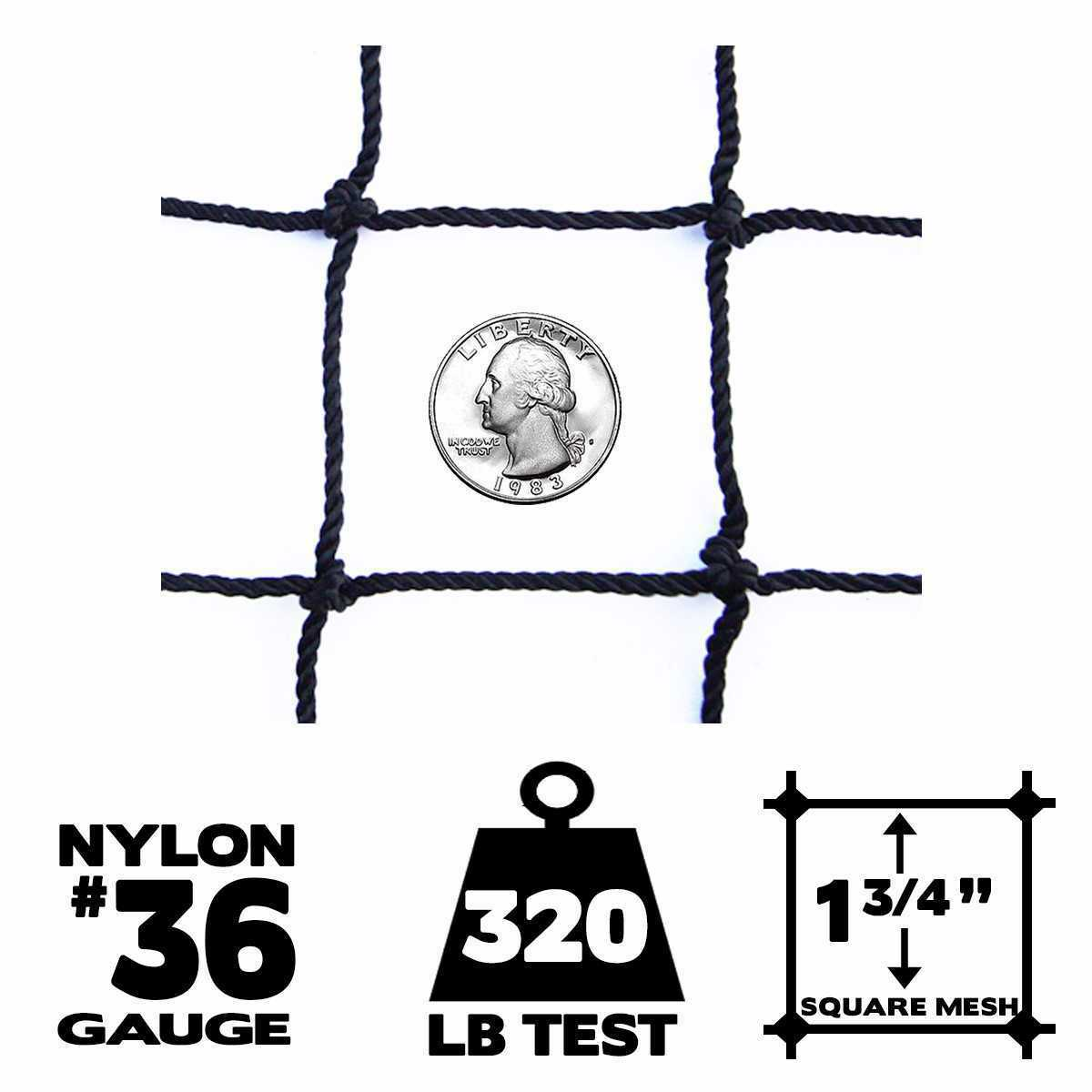 Netting x - 15' x Netting 30',  36 Gauge, Baseball / Softball Panel Net (Choose Border) 477948