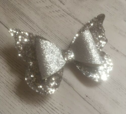 Handmade Butterfly Glitter Hair Clip Large 3.5 Inch Hair Bow Girl Baby Gold Pink
