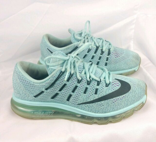 Nike Women's Sz 8 Air Max 2016 Flyknit Sky Blue 806772 400 Bred Good Condition