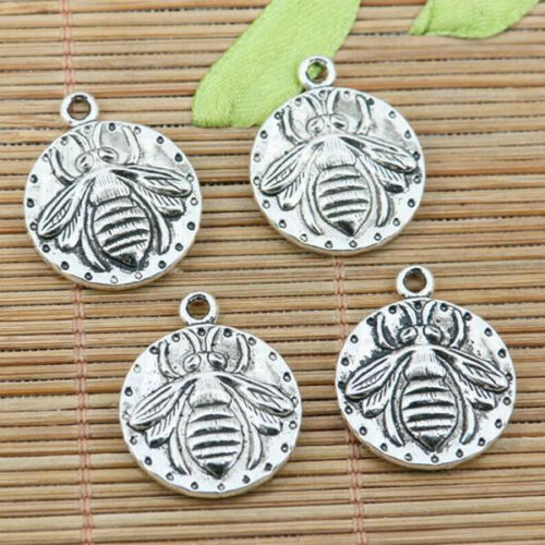 12pcs tibetan silver color 2sided round bee design charms EF2274