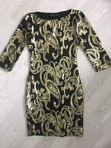 TOPSHOP-PETITE-SEQUIN-DRESS-BLACK-GOLD-PAISLEY-DESIGN-UK-4-PARTY-COCKTAIL-AB