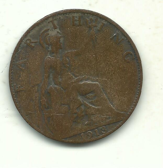 VERY NICE BETTER GRADE 1913 GREAT BRITAIN FARTHING COIN-JUL027