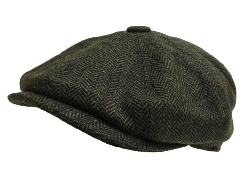 8 Bakerboy peaky Flat cheese Cap Cutter 1920s herringbone Panel Blinder newsboy Green r1UfnWrwS