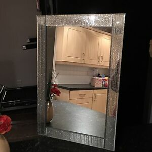 Silver Glitter Frame Wall Mirror Girls Room Bling Glitter