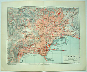 Details about Original 1907 City Map of Naples, Italy by Meyers. Neapel.  Antique