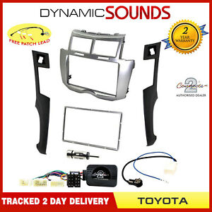 Double-Din-Car-CD-Stereo-Fascia-Fitting-Kit-Silver-for-Toyota-Yaris-2007-gt