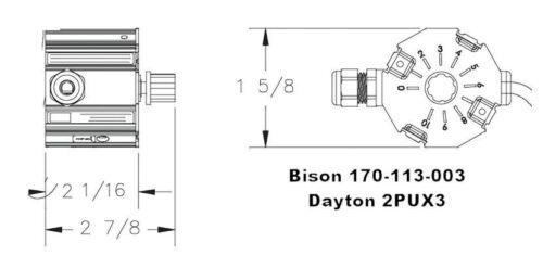 90VDC # 170-113-0003 Bison Direct Mount Gear Motor Speed Controller 1//35-1//6HP